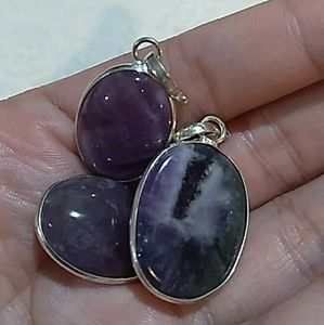 Amethyst silver plate pendent necklace oval shape